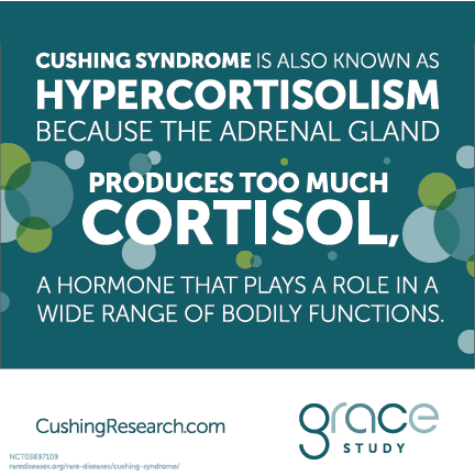 Cushing syndrome is also known as hypercortisolism because the adrenal gland produces too much cortisol, a hormone that plays a role in a wide range of bodily functions.